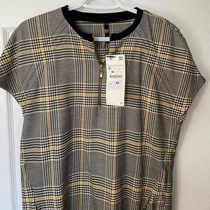NWT Zara oversized plaid mini shirt dress